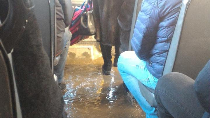 Ниагара или каток: в Архангельске пассажиры двух маршрутов ездили в грязи неделю