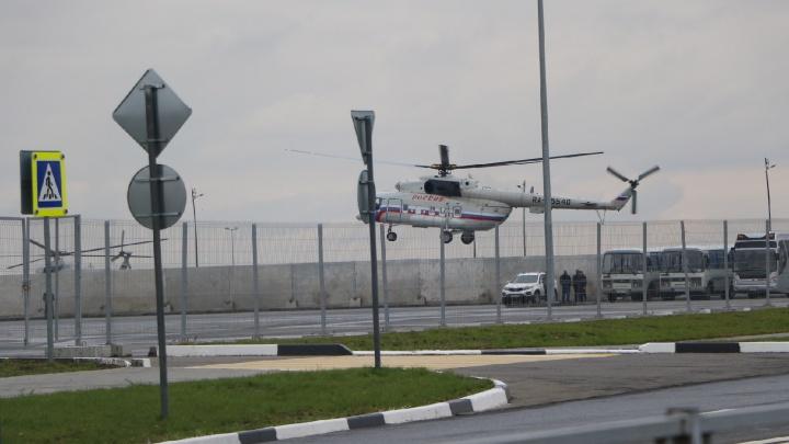 Путин прилетел на стадион «Нижний Новгород» на вертолете