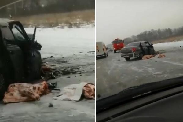 Из одной из машин выпало мясо