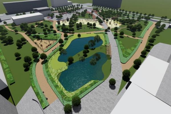 Предполагается, что в парке Энгельса появится искусственный водоём и несколько функциональных зон