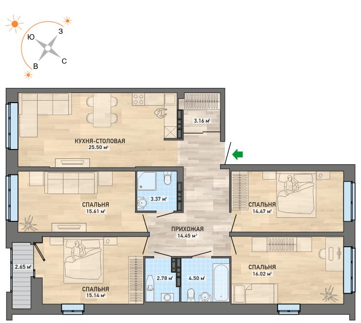 4-комнатные квартиры идеально подойдут для большой семьи(вариант планировки)