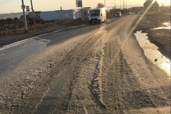 Утром дорога в Солнечном выглядела так