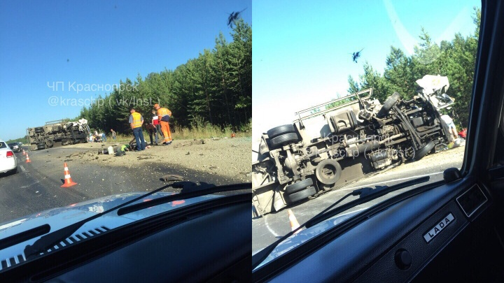 «В ту сторону вся трасса в крестах»: водитель фуры опрокинул трактор в кювет и сам перевернулся