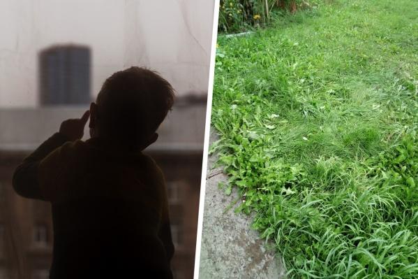 Девочка упала на траву рядом с домом