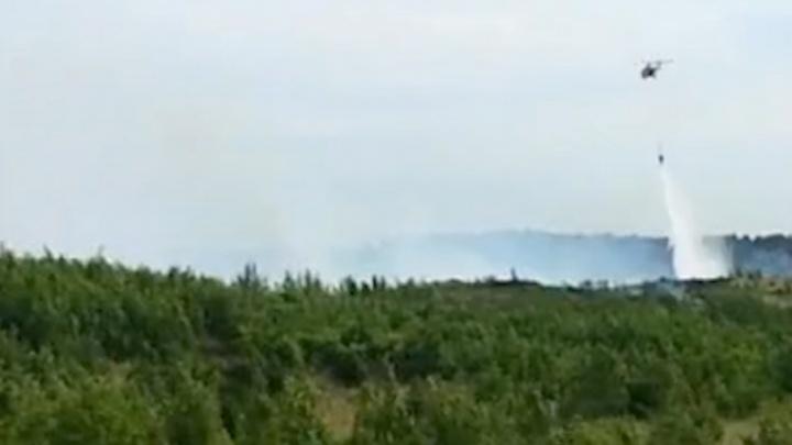 В Тольятти лесной пожар тушили с помощью вертолета
