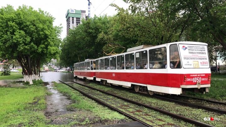 В Самаре из-за ливня остановили движение трамваев