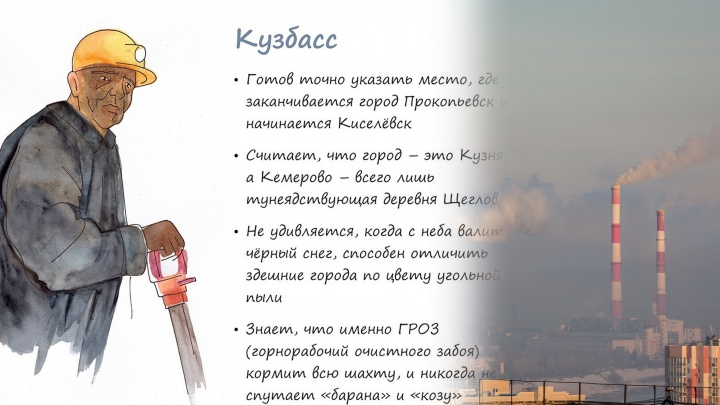 Сибирячка нарисовала типичных жителей городов: Барнаул — мужик в ушанке, Томск — спящий студент
