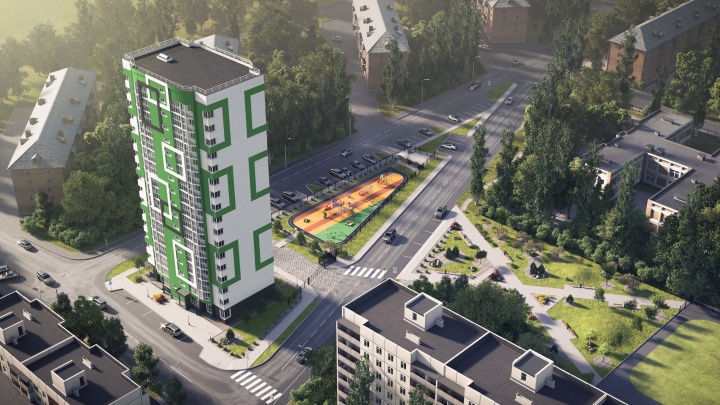 В Дзержинском районе к концу года достроят дом с ярким фасадом — рядом разобьют сквер