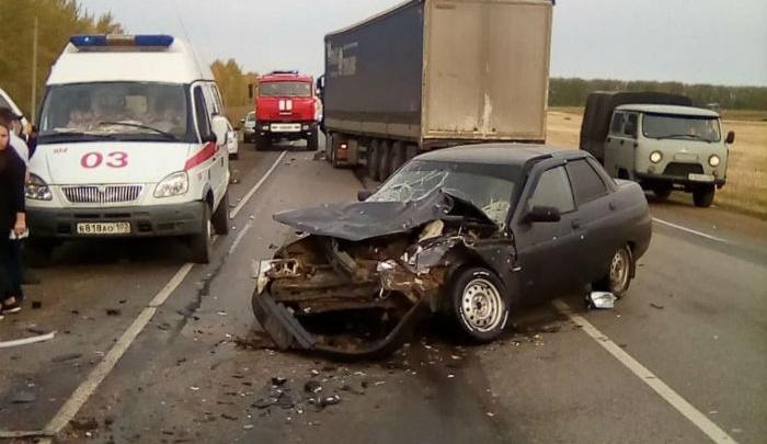Массовая авария на трассе в Башкирии: столкнулись две легковушки и грузовик
