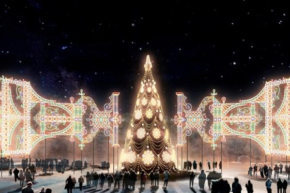 Так будет выглядеть иллюминация на площади перед дворцом Орджоникидзе