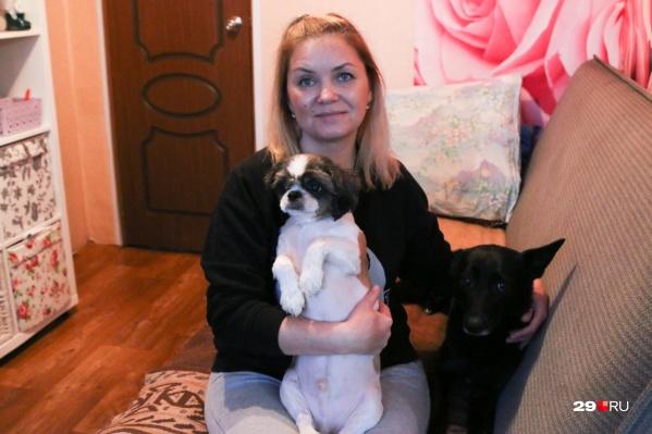 Елена Зубова и спасенные животные, которые стали ее питомцами