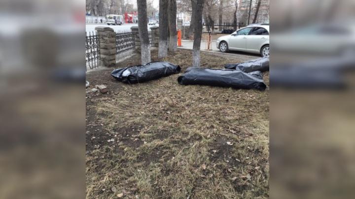 В челябинской горбольнице извинились за уборку мусора в мешки для трупов