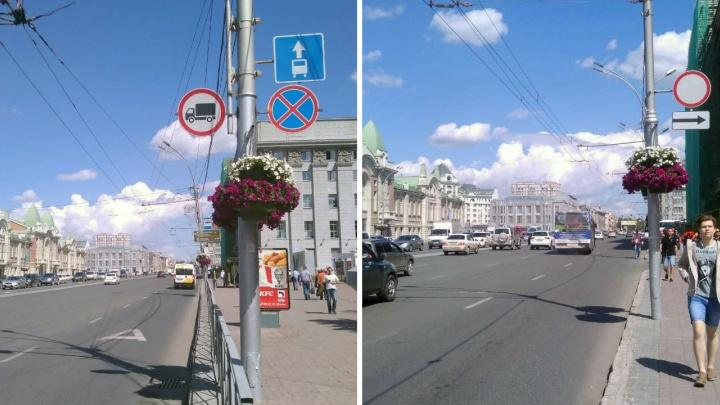 Закрытые цветами дорожные знаки возле мэрии перевесили после публикации НГС