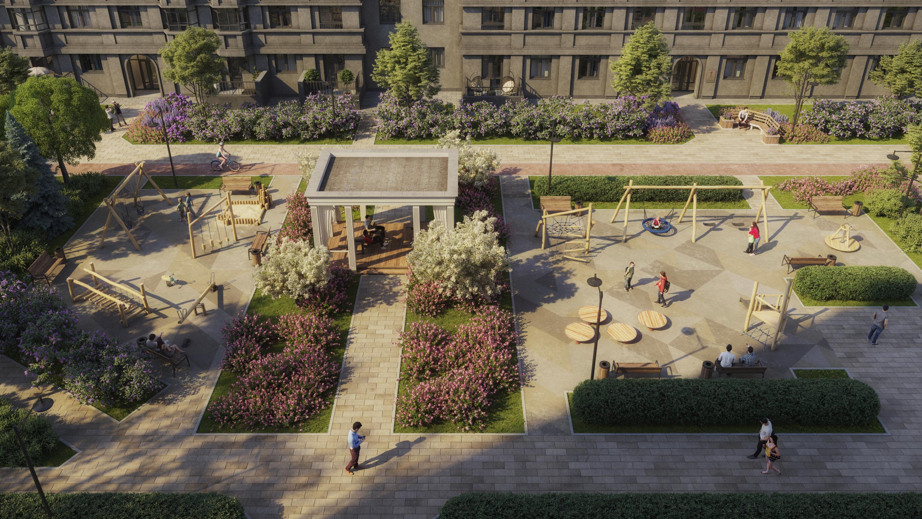 Каждый двор будет выполнен в определенной цветовой гамме