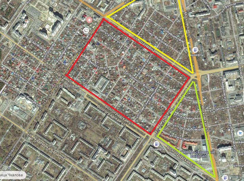 Карта застройки Цыганского посёлка: жёлтый треугольник будет застраивать «Брусника», зелёный — «Московский квартал», а красный достался создателям «Гринвича»