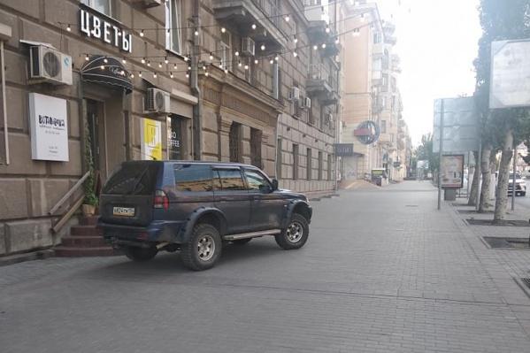 Волгоградец проехал по тротуару и остановился у цветочного павильона