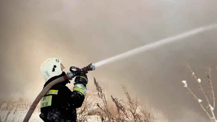В Омской области спустя семь часов потушили пожар площадью 4 тысячи квадратных метров
