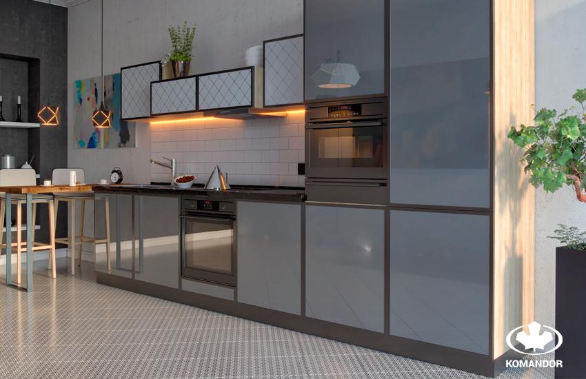 Кухня в стиле лофт с распашными шкафами