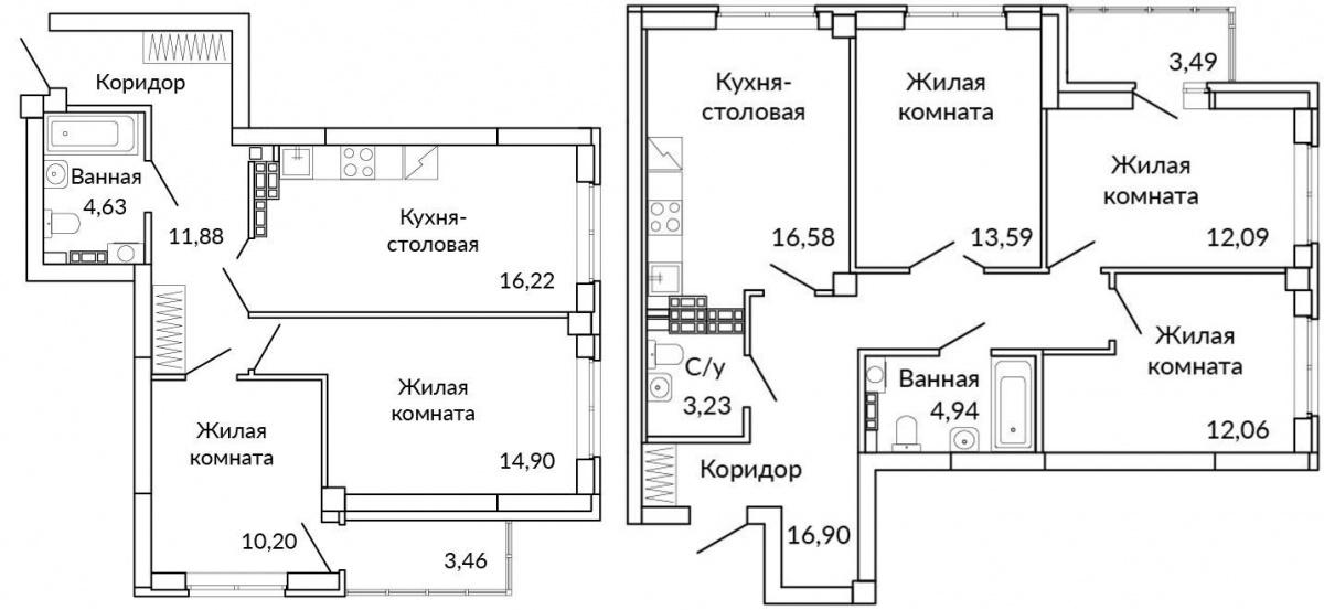 Большие квартиры оценят семейные люди, которые давно мечтают переехать в новый дом, но не хотят уезжать с Ботаники. Примеры планировок в третьем, «аметистовом», доме