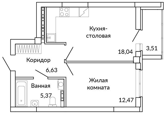 На 18 квадратных метрах легко разместить и кухню, и зону отдыха