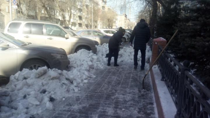 Дворники завалили снегом тротуар на Советской: так они почистили вход в государственное ведомство