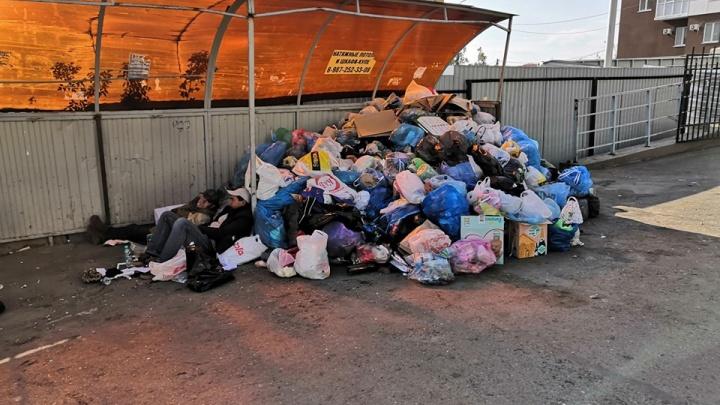 Горы пакетов и лежанка для бездомных: жители почти 500 квартир в Уфе жалуются на свалку возле баков