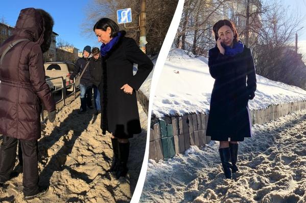 Наталья Котова решила сама проверить участки, на которые ей пожаловались челябинцы в соцсетях. Сугробы действительно есть, признала мэр