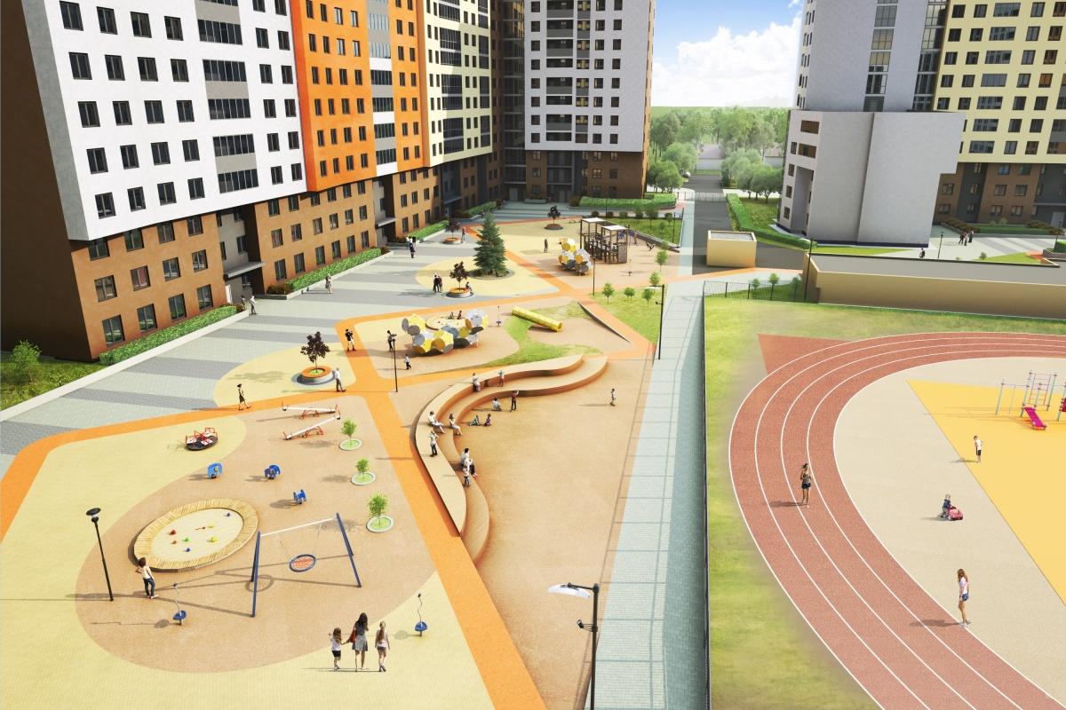В центре комплекса большой внутренний двор: для детей — игровые площадки, для взрослых — скамеечки и тенистые деревья, и для всех — спортивные площадки