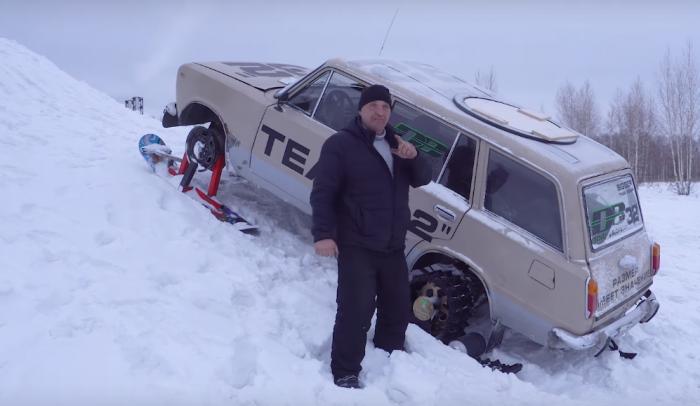 Во время испытаний к сноубордам приделали металлические уголки, чтобы автомобиль лучше передвигался по снегу