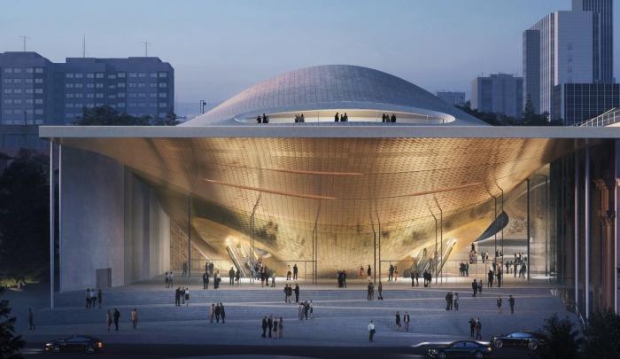 Этот проект победил в конкурсе. Возможно, такое здание может появиться рядом с действующей филармонией
