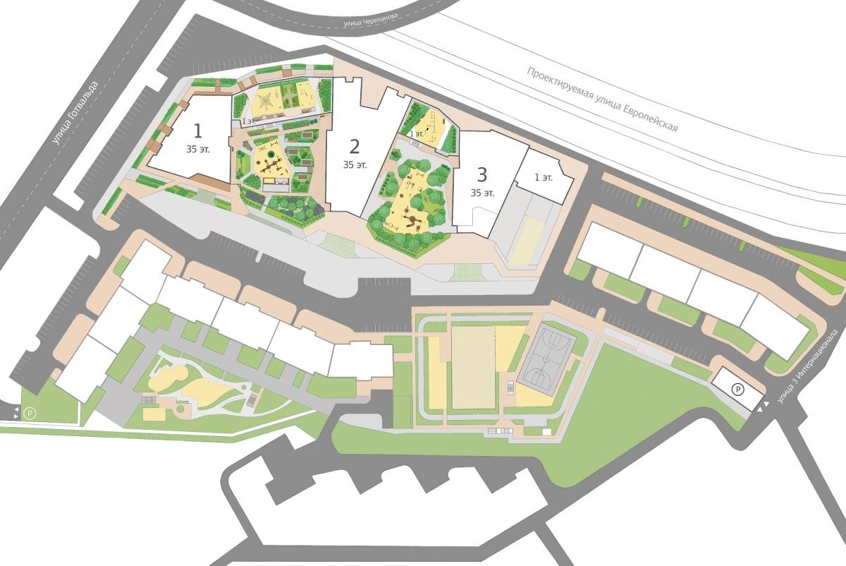 Как видно на плане, дворы будут занимать не только территорию между домами, но и крышу пристроя