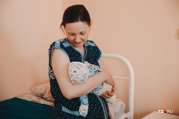 Счастливая Наталья с новорождённым сыночком