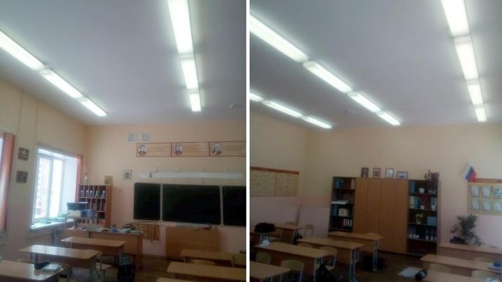 После обрушения штукатурки застройщик отремонтировал потолок в кабинете омской школы