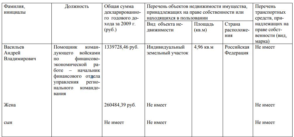 Декларация о доходах Васильева за 2009 год