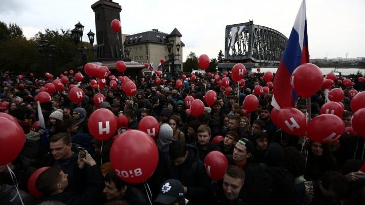 Таймлапс: как собиралась толпа на митинг Навального на набережной в Новосибирске