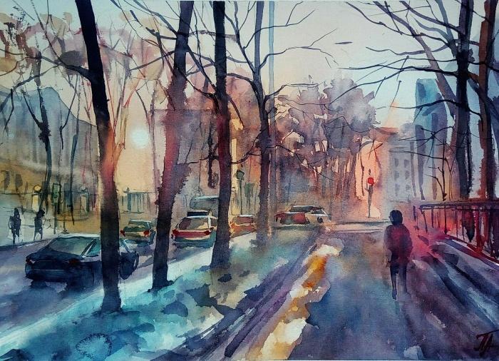 На рисунках Анны Екатеринбург яркий и солнечный
