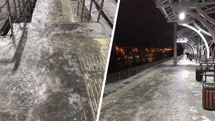 Можно сесть на электричку, а можно скатиться под нее: станция Первомайская стала ледяным катком