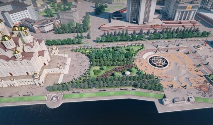 Таким будет сквер у Театра драмы по проекту храма, если его построят