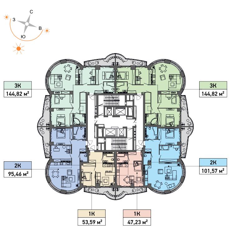 Типовой план 31-го и 32-го этажей