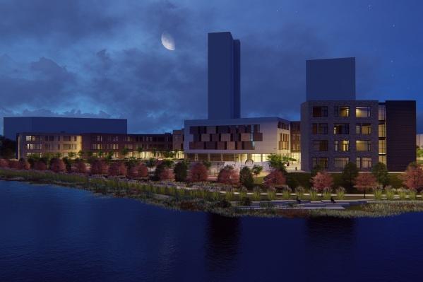 Ночной вид на новую школу со стороны реки Исеть