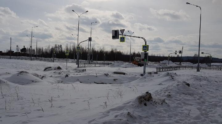 Прямо — в сугроб, налево — в яму: в Академическом нашли работающий на пустыре светофор