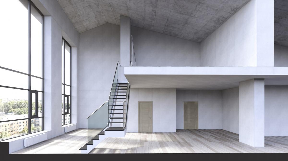 Пример квартиры сантресолью в23-этажной секции. Планировка такой квартиры позволяет развернуть интерьер вертикально