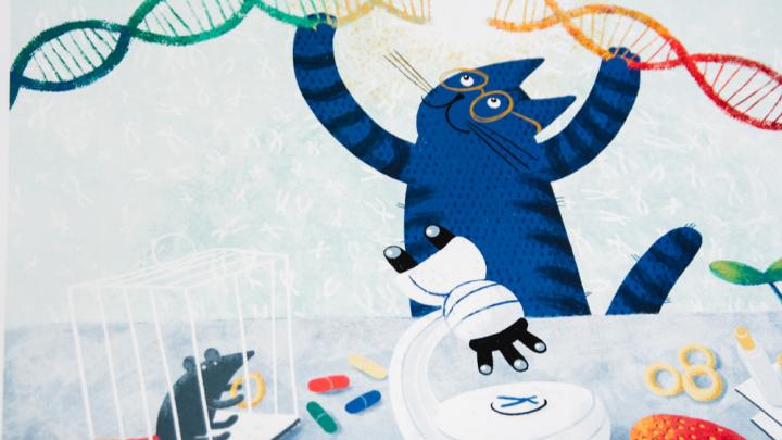 Забавный синий кот стал героем календаря на 2020 год — он соединяет ДНК и сидит за компьютером
