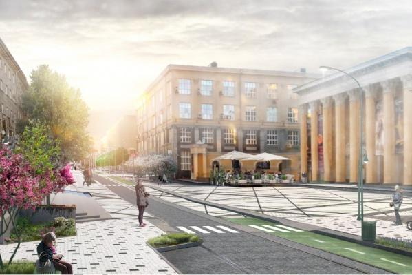 Концепция благоустройства улицы Ленина предполагает широкие тротуары и велодорожку, но дорогу для машин всё же оставят<br>