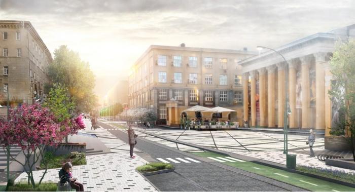 Концепция благоустройства улицы Ленина предполагает широкие тротуары и велодорожку, но дорогу для машин всё же оставят