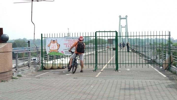 «Лезут даже беременные»: красноярцы прорываются через ограждения на закрытый Вантовый мост