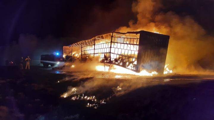 На трассе Тюмень — Омск столкнулись и загорелись две фуры