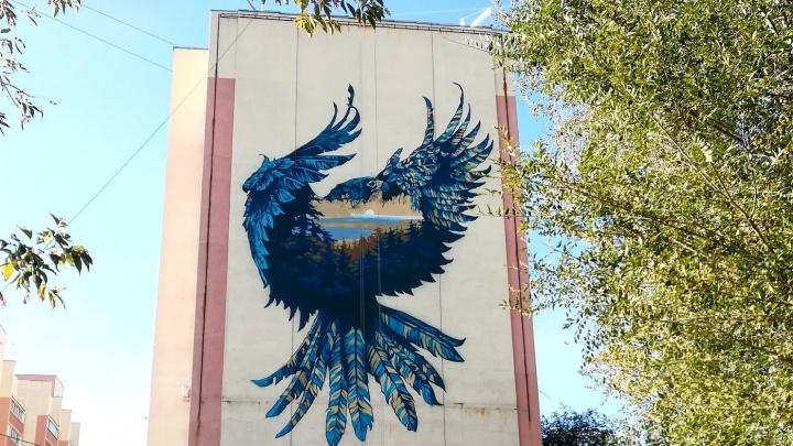 «Орел будто охраняет Волгу»: публикуем фото нового граффити на самарской высотке