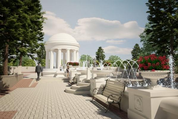 Так будут выглядеть фонтаны в аллейке, которая выходит на улицу Краснова
