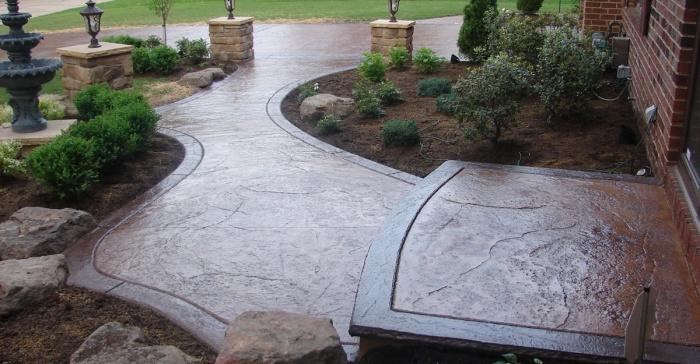 Декоративный печатный бетон: садовые дорожки своими руками